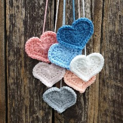 Crochet Wall Hearts - Colourway 11