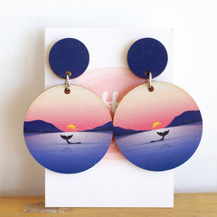 Sustainable Statement Earrings - Sunset Whale - Surgical Steel - Wholesale