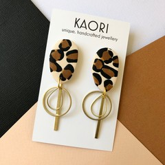 Polymer clay earrings, statement earrings in leopard print