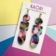 Polymer clay earrings, statement earrings in colour splash purple
