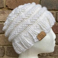 Knitted cream messy bun ponytail beanie