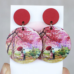 Sustainable Statement Earrings - Spring Love Red - Surgical Steel - Wholesale