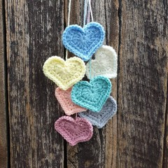 Crochet Wall Hearts - Colourway 13
