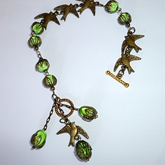Olive green and antique bronze bird bracelet