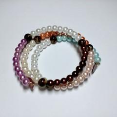 Coloured glass pearl Wrap Bracelet
