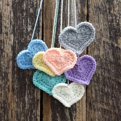 Crochet Wall Hearts - Colourway 9
