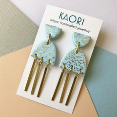 Polymer clay earrings, statement earrings in blue gold leaf