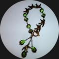 Olive green and antique bronze bird bracelet