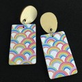 Wood rectangle with rainbow print ( white background ) earrings
