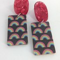 Wood rectangle with rainbow print ( black background ) earrings
