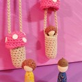 Pink crochet toadstool necklace with removable wooden gnome