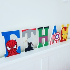 Name Plaque for Wall or Door. 15cm Super Hero Theme. 5 letters
