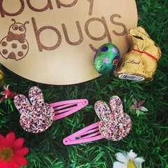 Bunny Pink Glitter Hair Snap Clips Easter Rabbit