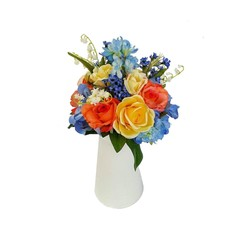 Colourful Silk Rose Flower Arrangement in White Jug - Artificial Flowers