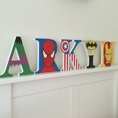Name Plaque for Wall or Door. 17cm Super Hero theme. 5 Letters.