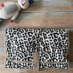 "Leopard ""Rarr"" print. Baby travel change mat, nappy diaper wallet clutch."