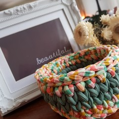 Crochet baskets - medium, jade with pastel highlights.