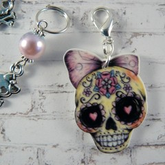 Stitch Markers : Sugar Skull Stitch/Crochet Markers Set  | Knitting Accessories