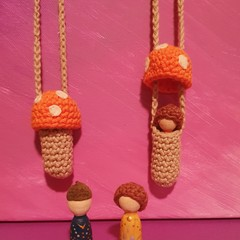 Orange Crochet Toadstool Necklace With Wooden Gnome