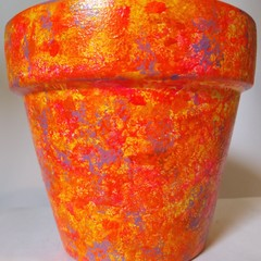 Painted terracotta pot