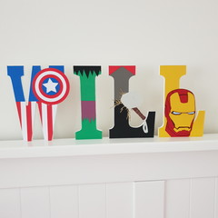 Name Plaque for Wall or Door. 15cm Super Hero Theme. 4 letters