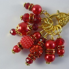 Stitch Markers : Deluxe Gem Cabochon Marker Collection  RUBY |