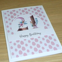Girls 21st Birthday card - rose gold magnolias
