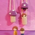 Purple crochet toadstool necklace with removable wooden gnome