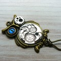 Portuguese Magnetic Knitting Pin : Steampunk Owl l ID Badge Holder