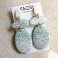 Polymer clay earrings, statement earrings imitation fossil coral white