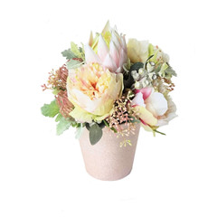 Flower Arrangement - Pink Silk Peonies & Native Flowers in Rose Gold Vase