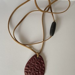 Maroon Leopard Print textured polymer clay pendant
