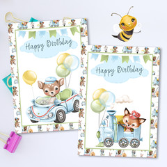 Happy Birthday Deer & Fox Cards