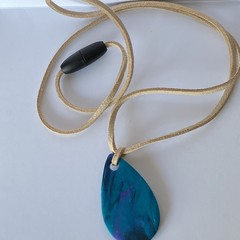 Blue, purple & black polymer clay pendant
