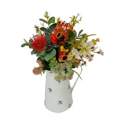 Artificial Australian Native Flowers in Tin Jug -  Lasting  Mothers Day Gift