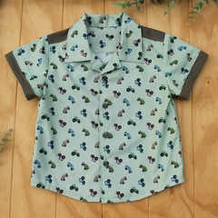 Cars and Tractors - Boy's Button up Shirt - Size 2