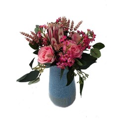 Pink Silk Roses with Native Flower Arrangement in Blue Vase - Mothers Day Gift