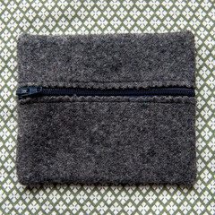 Upcycled Grey Wool Felt Coin Purse