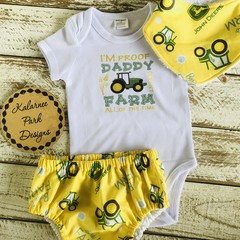 """I'm Proof My Daddy Doesn't Farm all of the Time"" Onesie Set Baby Boy"