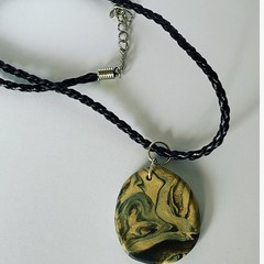 Black & Tan Marbled polymer clay pendant