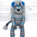 'Lennon' the Sock Lion - grey turquoise & navy blue - *READY TO POST*