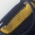 Handmade Crochet Tote Bag - Dark Blue and Yellow