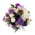 Peony and Rose Purple & White Lavender Rustic Bridesmaid's Bouquet & Buttonhole