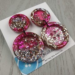 Super Sparkly Glitter - Button Hook Dangle earrings