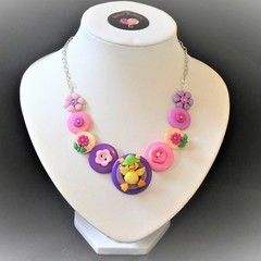 Easter necklace - Pink Ducky