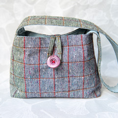 Wool Plaid Shoulder Bag (with button closure)