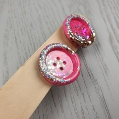 Silver Pink Glitter Resin Button Stud Earrings