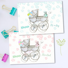 New Baby Pram Girl and Boy Cards