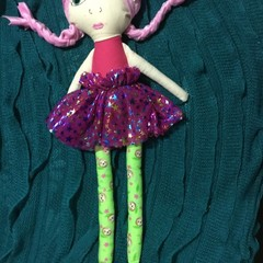 Ray of hope doll - Lime green sloth print with pink star skirt