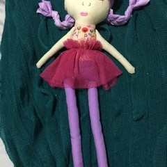 Ray of hope doll - Peach floral print with purple
